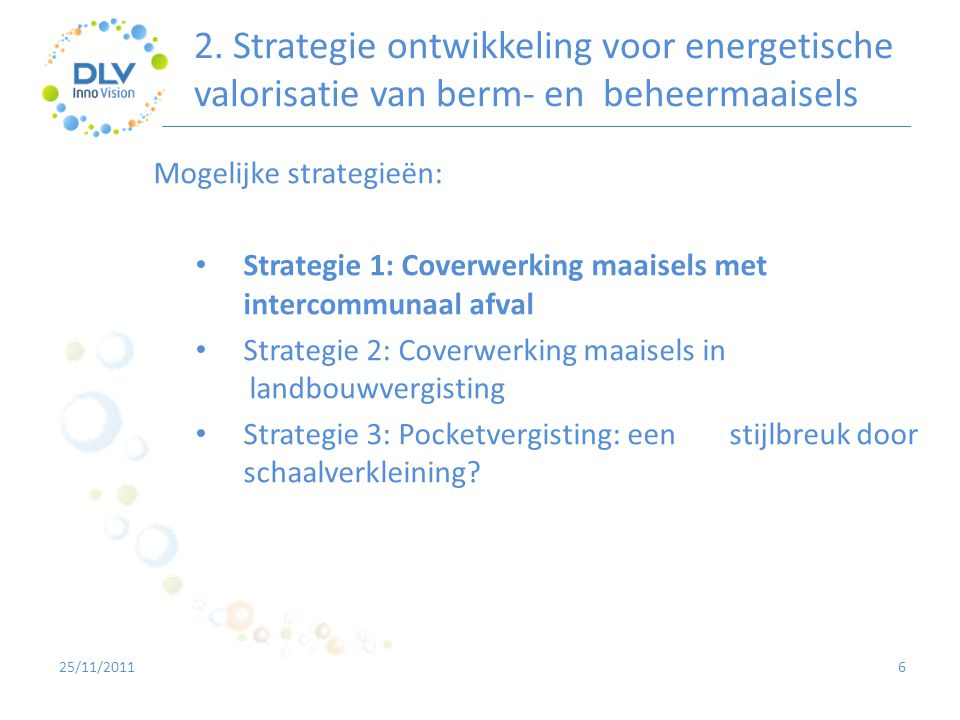 2. Strategie ontwikkeling voor energetische valorisatie van berm- en beheermaaisels