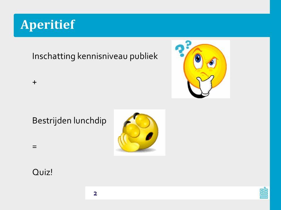 Aperitief Inschatting kennisniveau publiek + Bestrijden lunchdip = Quiz!