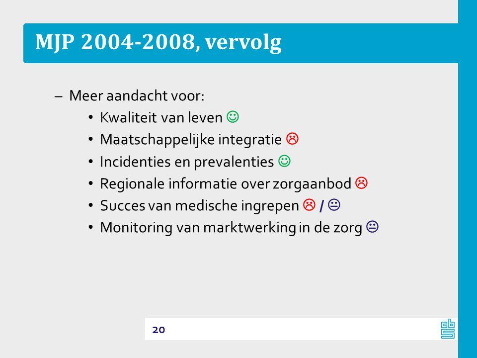 MJP 2004-2008, vervolg Meer aandacht voor: Kwaliteit van leven 
