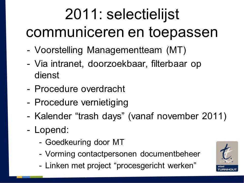 2011: selectielijst communiceren en toepassen
