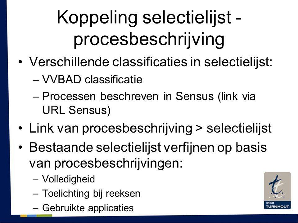 Koppeling selectielijst - procesbeschrijving