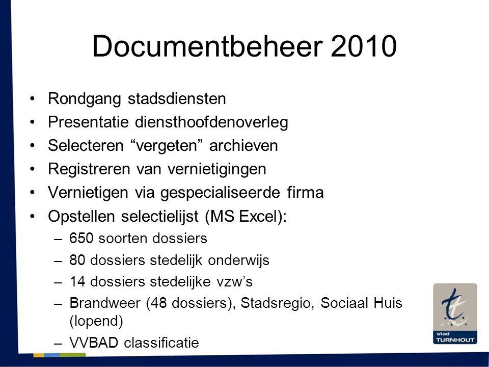 Documentbeheer 2010 Rondgang stadsdiensten