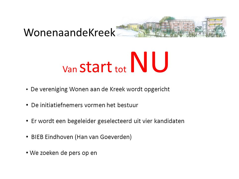 WonenaandeKreek Van start tot NU
