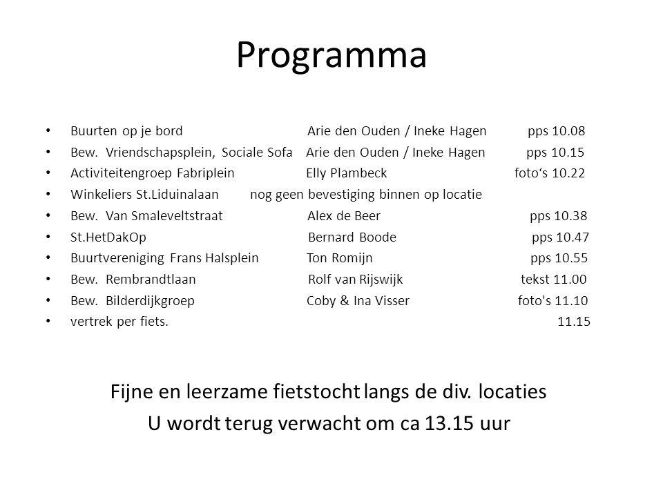 Programma Fijne en leerzame fietstocht langs de div. locaties