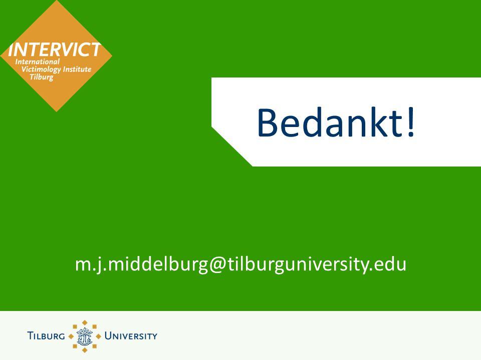 Bedankt! m.j.middelburg@tilburguniversity.edu