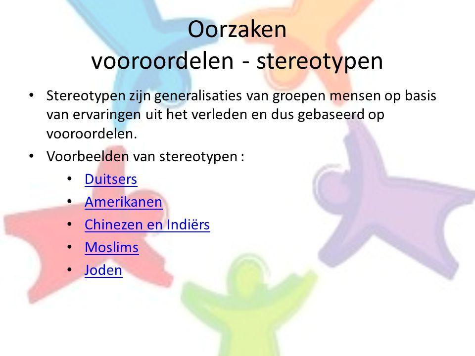 Oorzaken vooroordelen - stereotypen