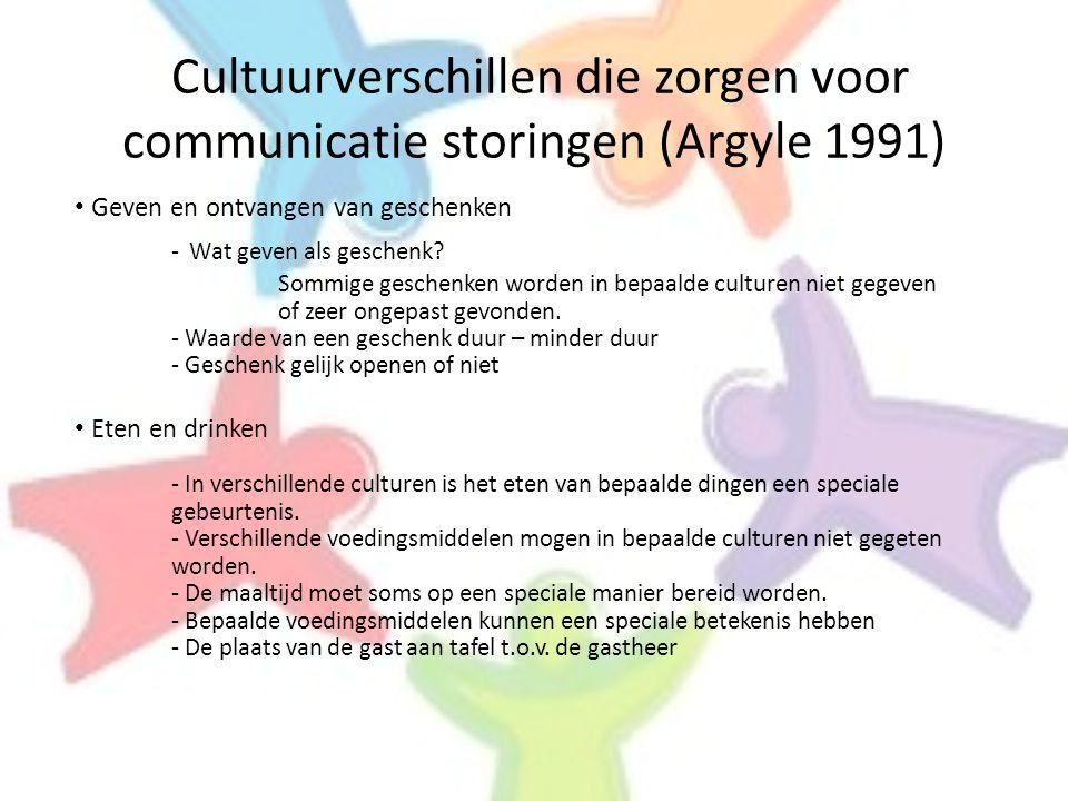 Cultuurverschillen die zorgen voor communicatie storingen (Argyle 1991)
