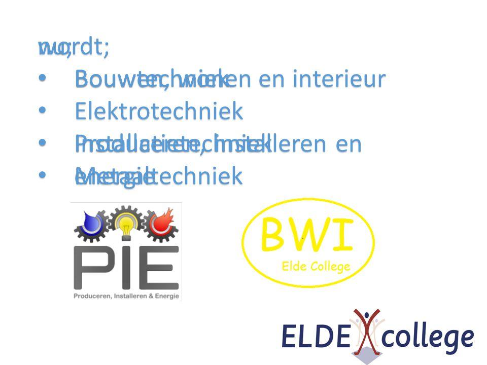 wordt; Bouwen, wonen en interieur. Produceren, installeren en energie. nu; Bouwtechniek. Elektrotechniek.