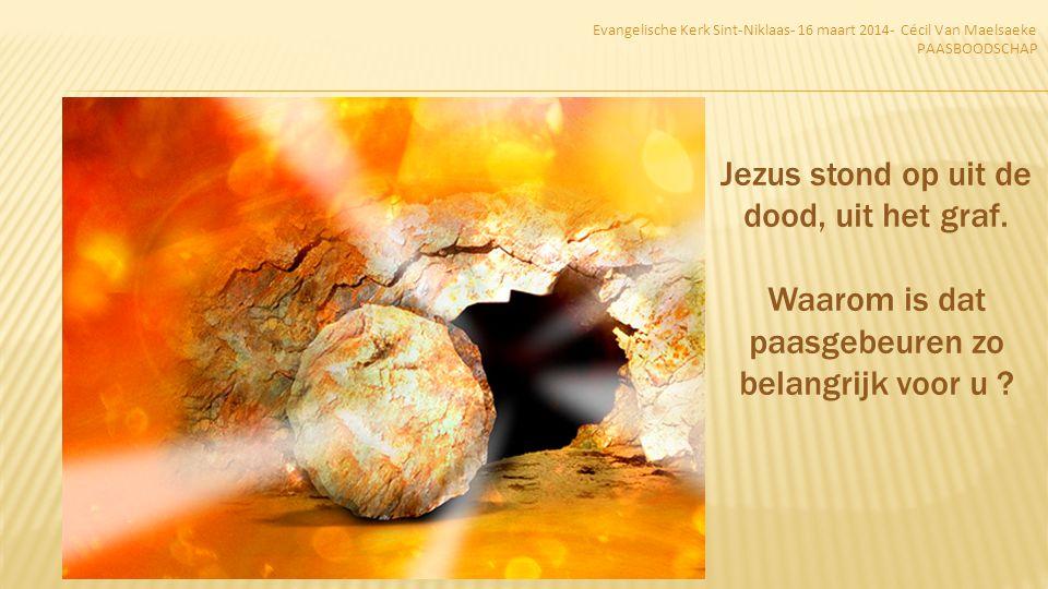 Jezus stond op uit de dood, uit het graf.