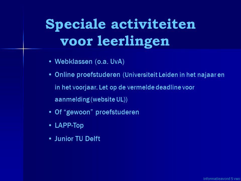 Speciale activiteiten voor leerlingen