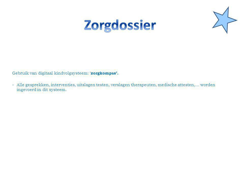 Zorgdossier Gebruik van digitaal kindvolgsysteem: 'zorgkompas'.