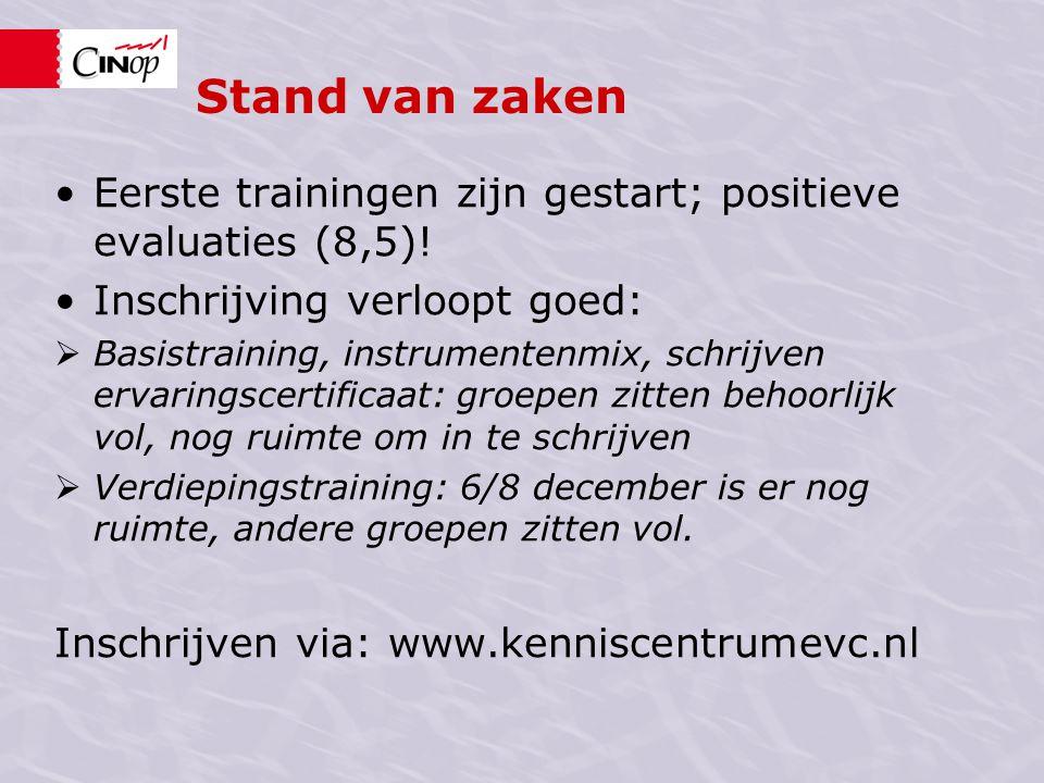 Stand van zaken Eerste trainingen zijn gestart; positieve evaluaties (8,5)! Inschrijving verloopt goed:
