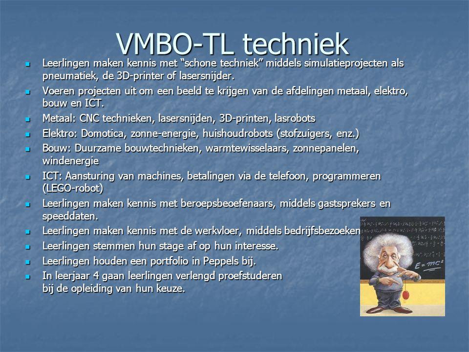 VMBO-TL techniek Leerlingen maken kennis met schone techniek middels simulatieprojecten als pneumatiek, de 3D-printer of lasersnijder.