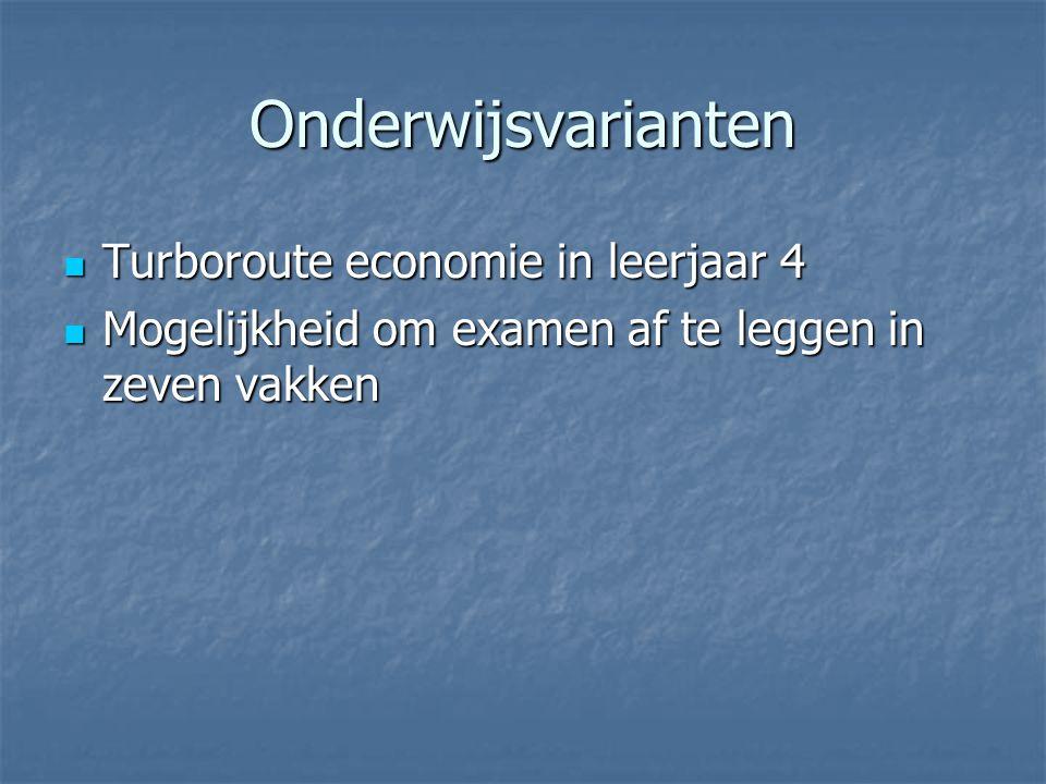 Onderwijsvarianten Turboroute economie in leerjaar 4