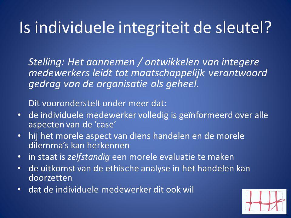 Is individuele integriteit de sleutel