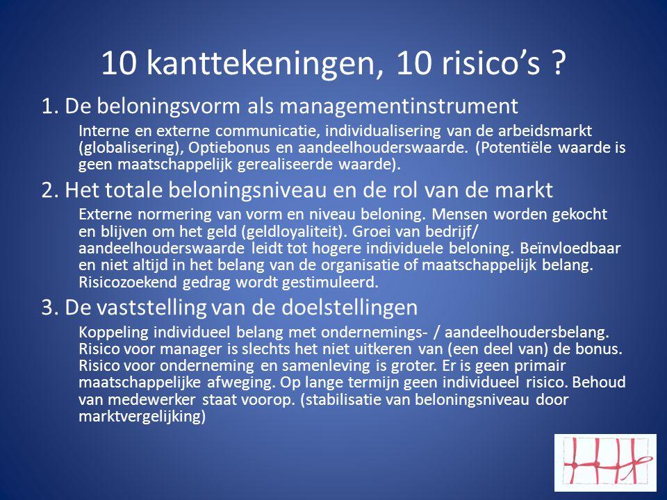 10 kanttekeningen, 10 risico's
