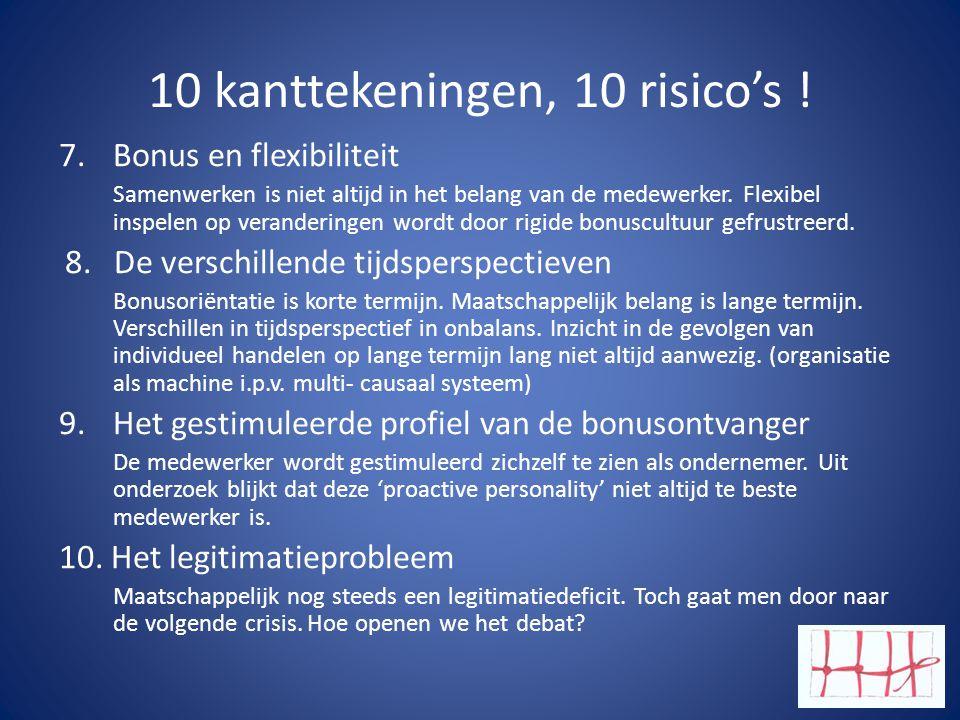 10 kanttekeningen, 10 risico's !