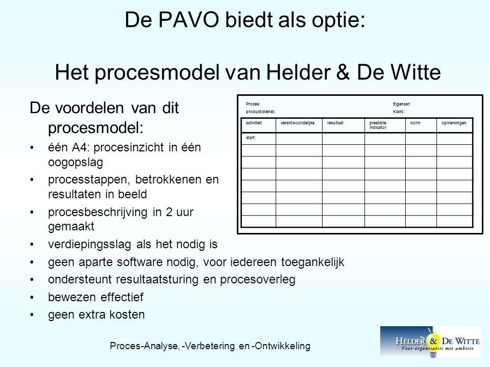 De PAVO biedt als optie: Het procesmodel van Helder & De Witte