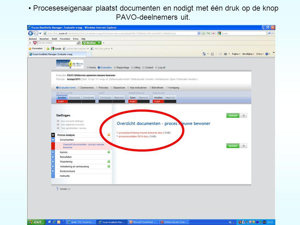 Proceseseigenaar plaatst documenten en nodigt met één druk op de knop PAVO-deelnemers uit.