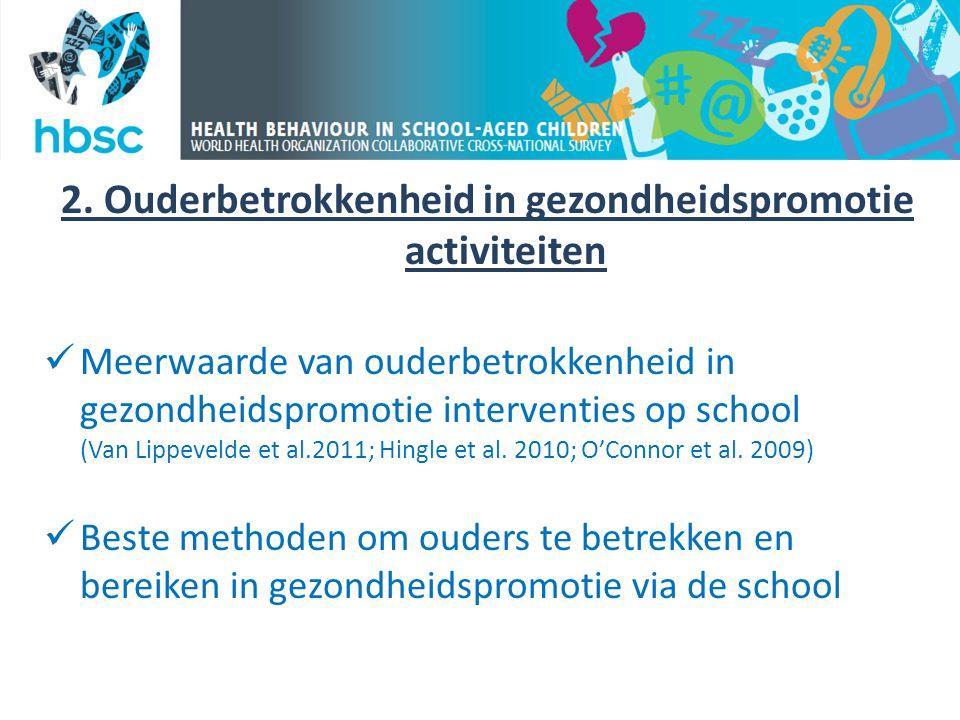 2. Ouderbetrokkenheid in gezondheidspromotie activiteiten