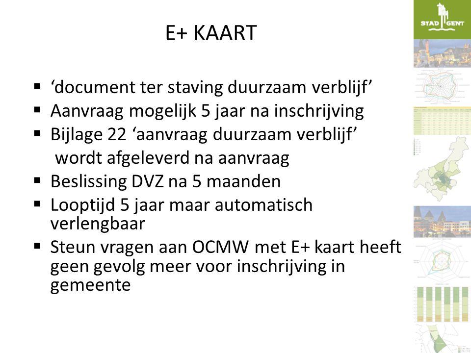 E+ KAART 'document ter staving duurzaam verblijf'