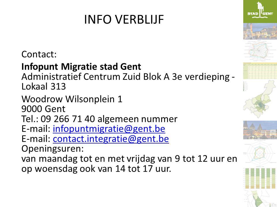 INFO VERBLIJF Contact: