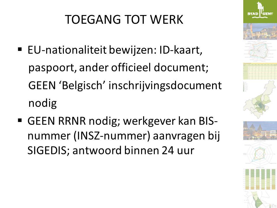 TOEGANG TOT WERK EU-nationaliteit bewijzen: ID-kaart,