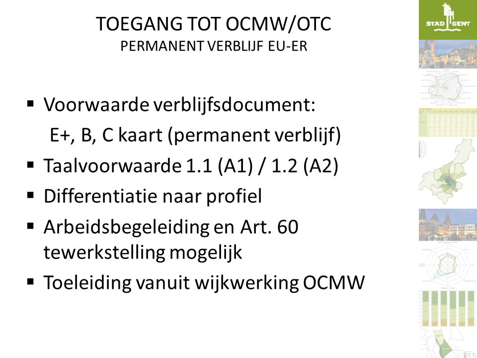 TOEGANG TOT OCMW/OTC PERMANENT VERBLIJF EU-ER