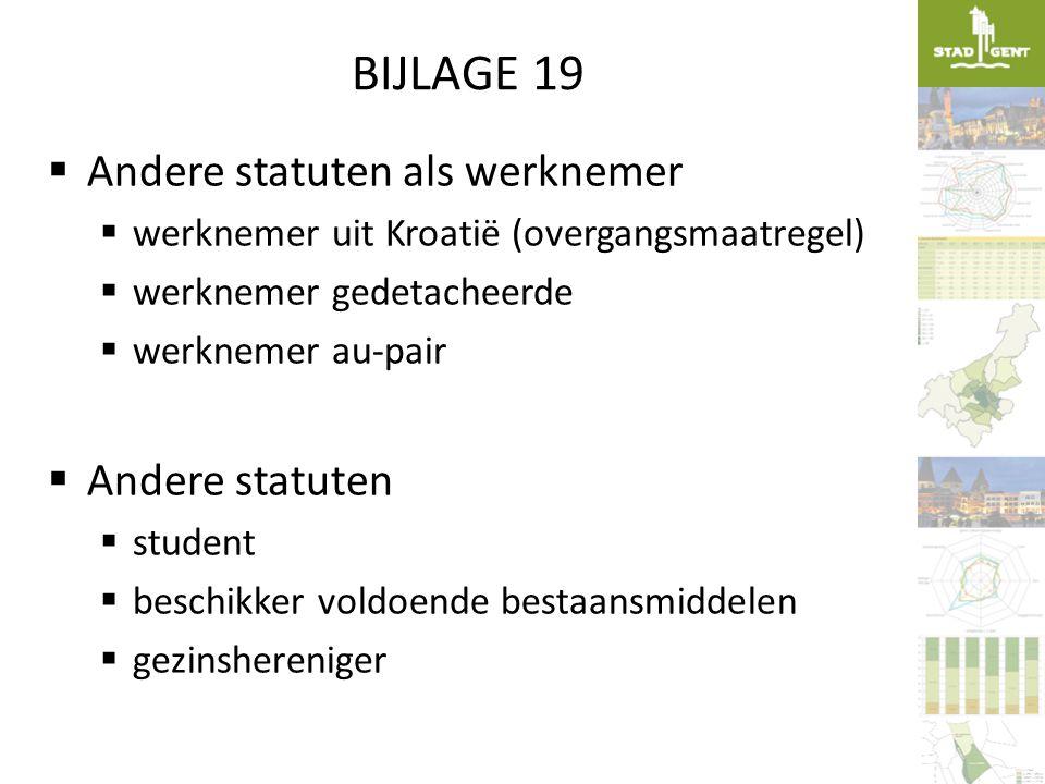 BIJLAGE 19 Andere statuten als werknemer Andere statuten