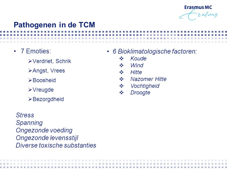 Pathogenen in de TCM 7 Emoties: 6 Bioklimatologische factoren: Stress