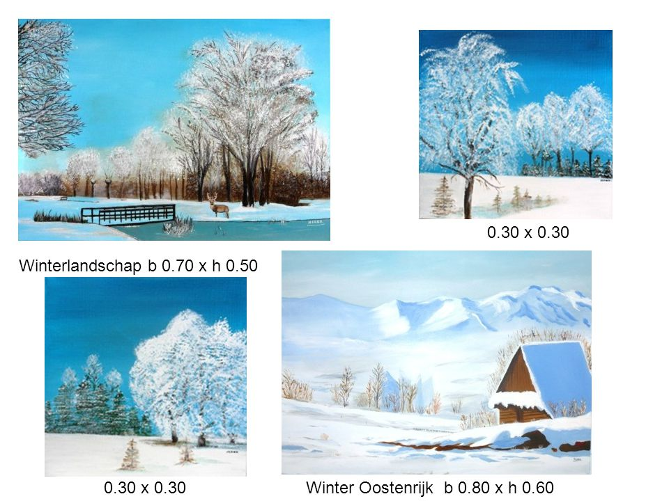 0.30 x 0.30 Winterlandschap b 0.70 x h 0.50 0.30 x 0.30 Winter Oostenrijk b 0.80 x h 0.60