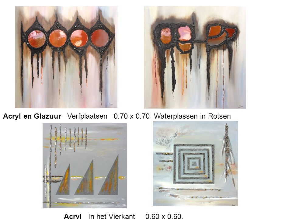 Acryl en Glazuur Verfplaatsen 0.70 x 0.70 Waterplassen in Rotsen