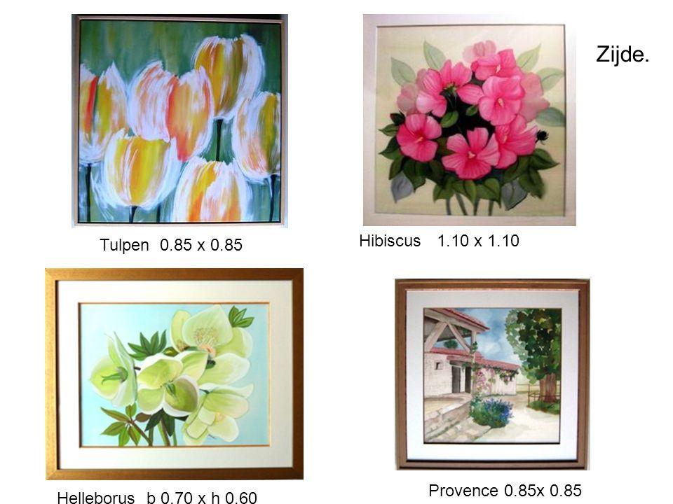 Zijde. Hibiscus 1.10 x 1.10 Tulpen 0.85 x 0.85 Provence 0.85x 0.85