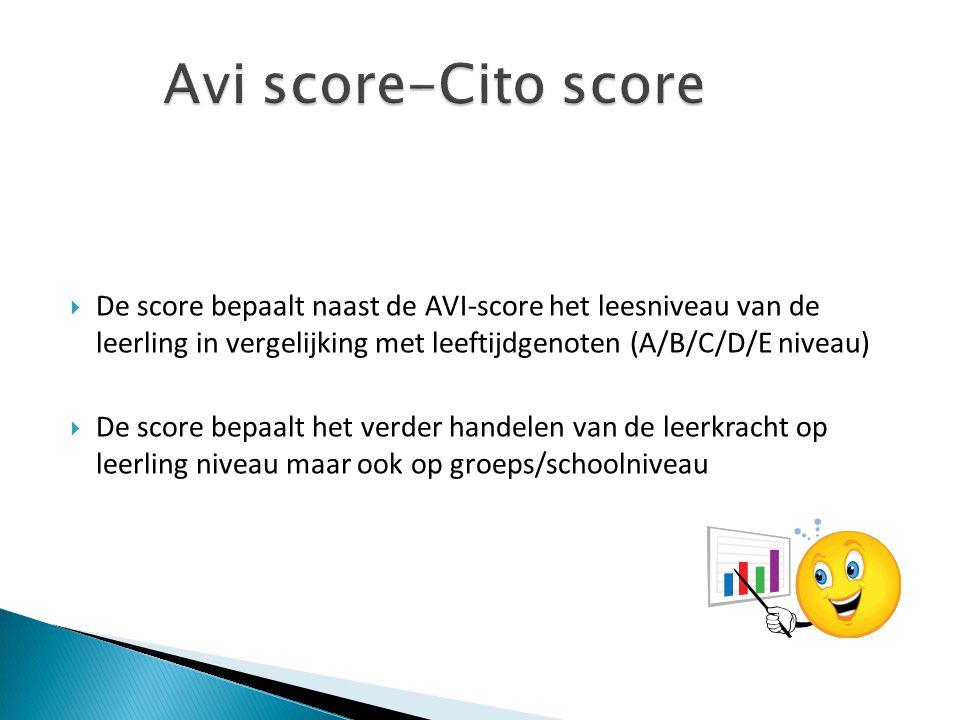 Avi score-Cito score De score bepaalt naast de AVI-score het leesniveau van de leerling in vergelijking met leeftijdgenoten (A/B/C/D/E niveau)