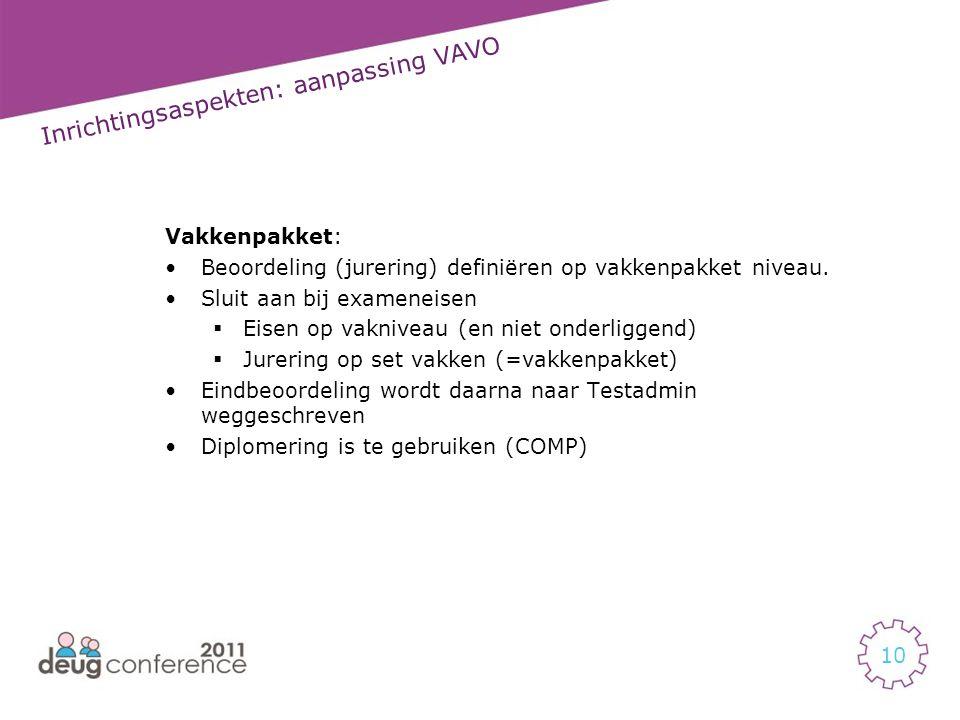 Inrichtingsaspekten: aanpassing VAVO