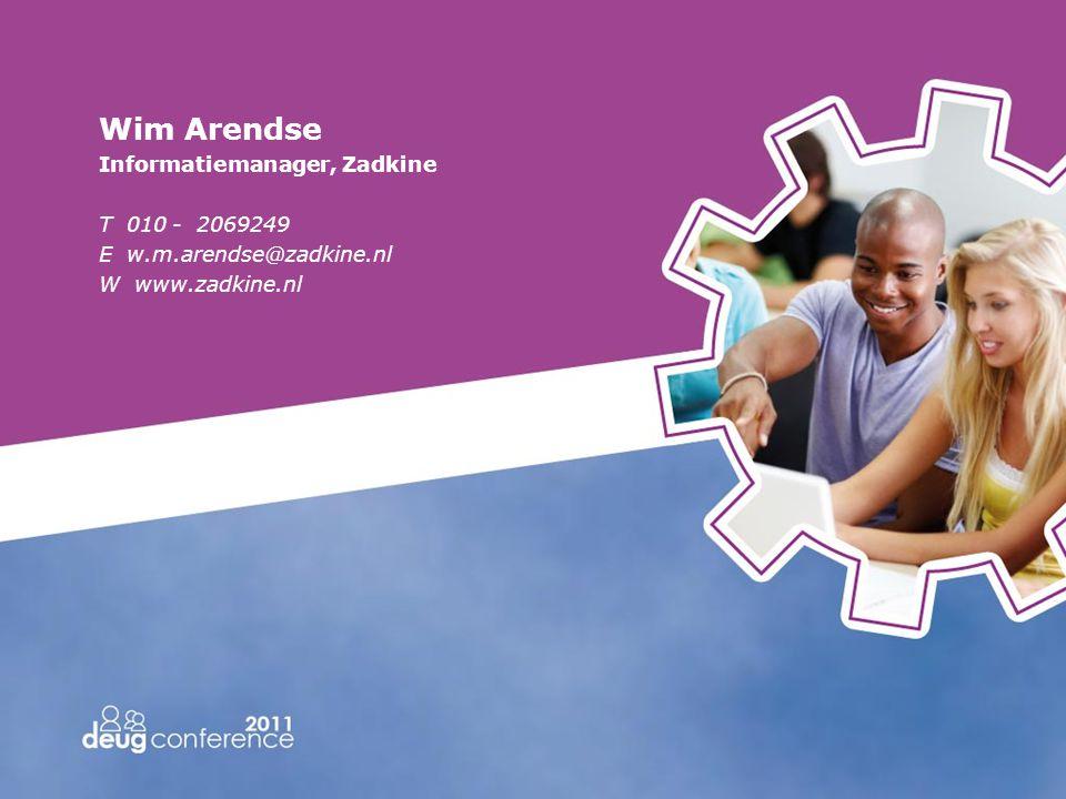 Wim Arendse Informatiemanager, Zadkine T 010 - 2069249