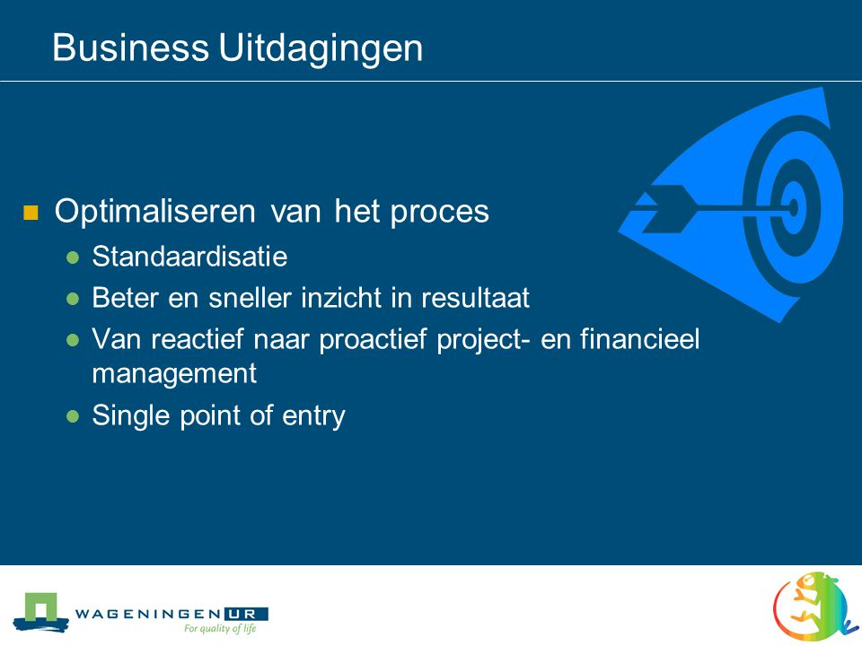 Business Uitdagingen Optimaliseren van het proces Standaardisatie