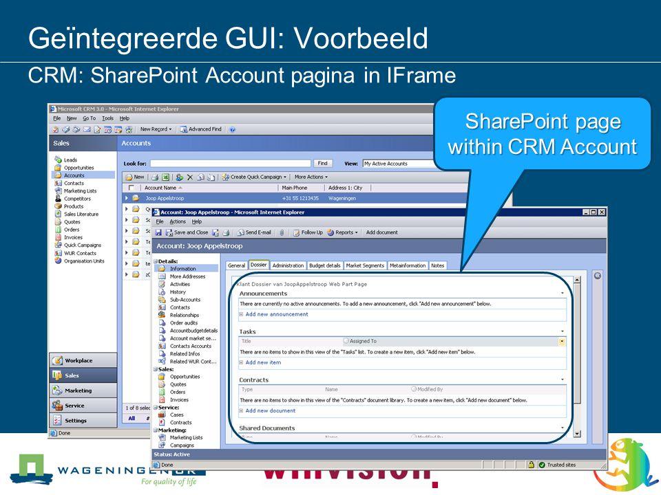 Geïntegreerde GUI: Voorbeeld CRM: SharePoint Account pagina in IFrame