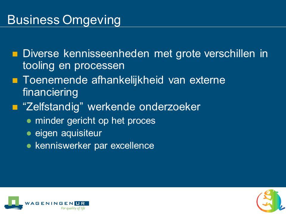 Business Omgeving Diverse kennisseenheden met grote verschillen in tooling en processen. Toenemende afhankelijkheid van externe financiering.