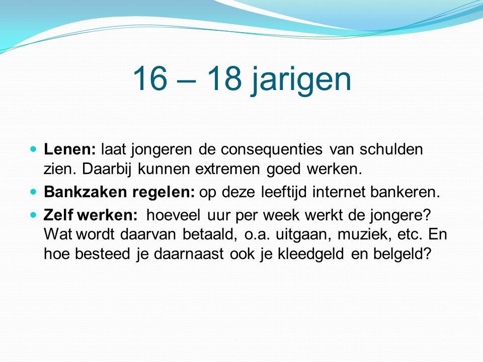 16 – 18 jarigen Lenen: laat jongeren de consequenties van schulden zien. Daarbij kunnen extremen goed werken.