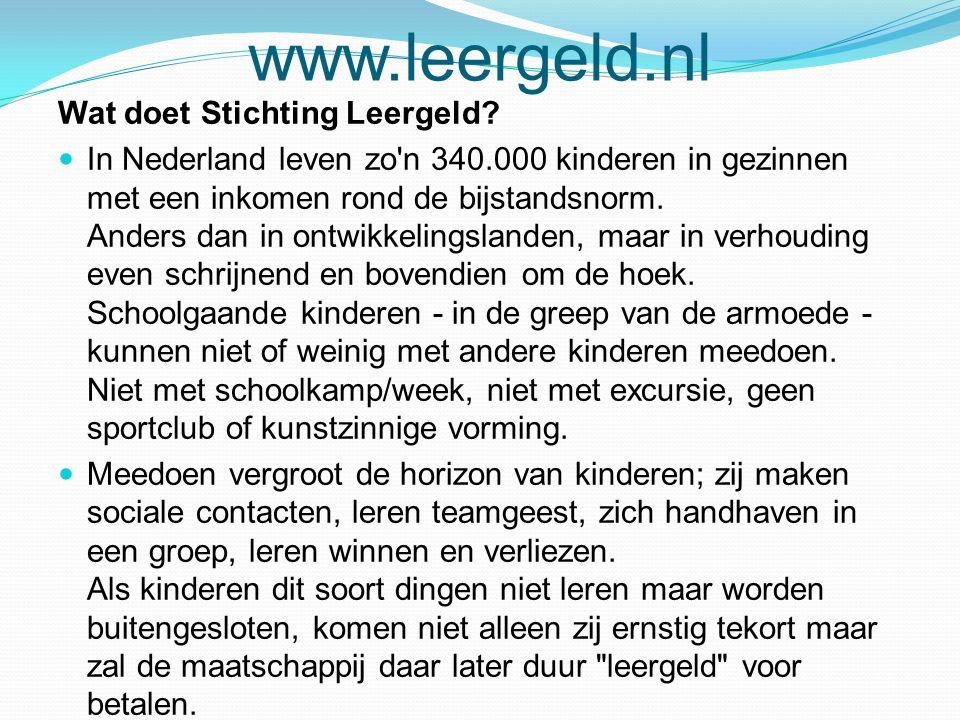 www.leergeld.nl Wat doet Stichting Leergeld