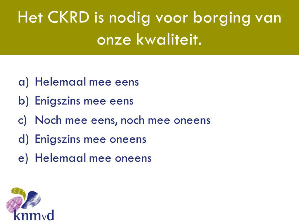 Het CKRD is nodig voor borging van onze kwaliteit.