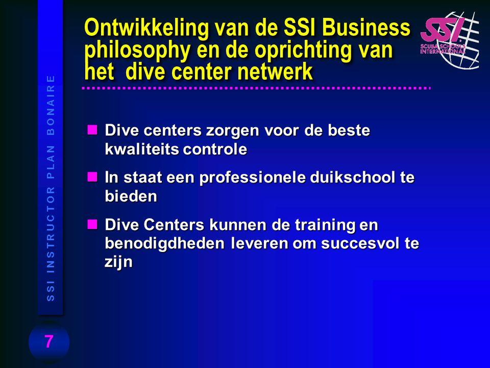 Ontwikkeling van de SSI Business philosophy en de oprichting van het dive center netwerk