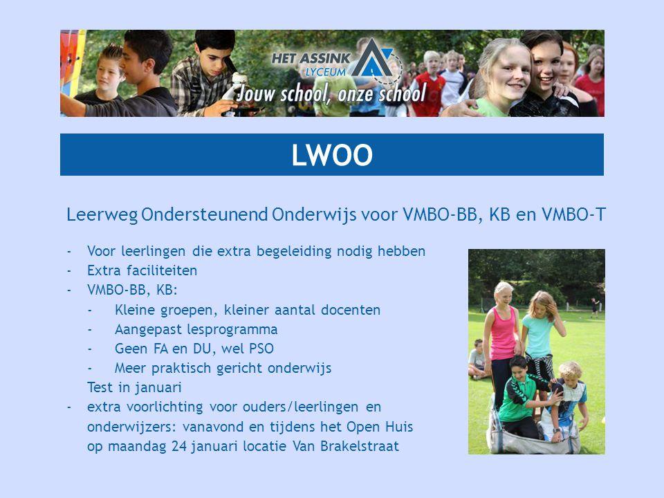 LWOO Leerweg Ondersteunend Onderwijs voor VMBO-BB, KB en VMBO-T