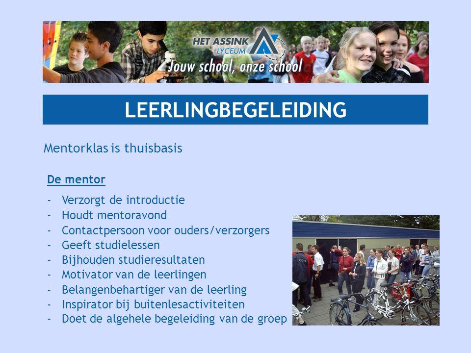 LEERLINGBEGELEIDING Mentorklas is thuisbasis De mentor