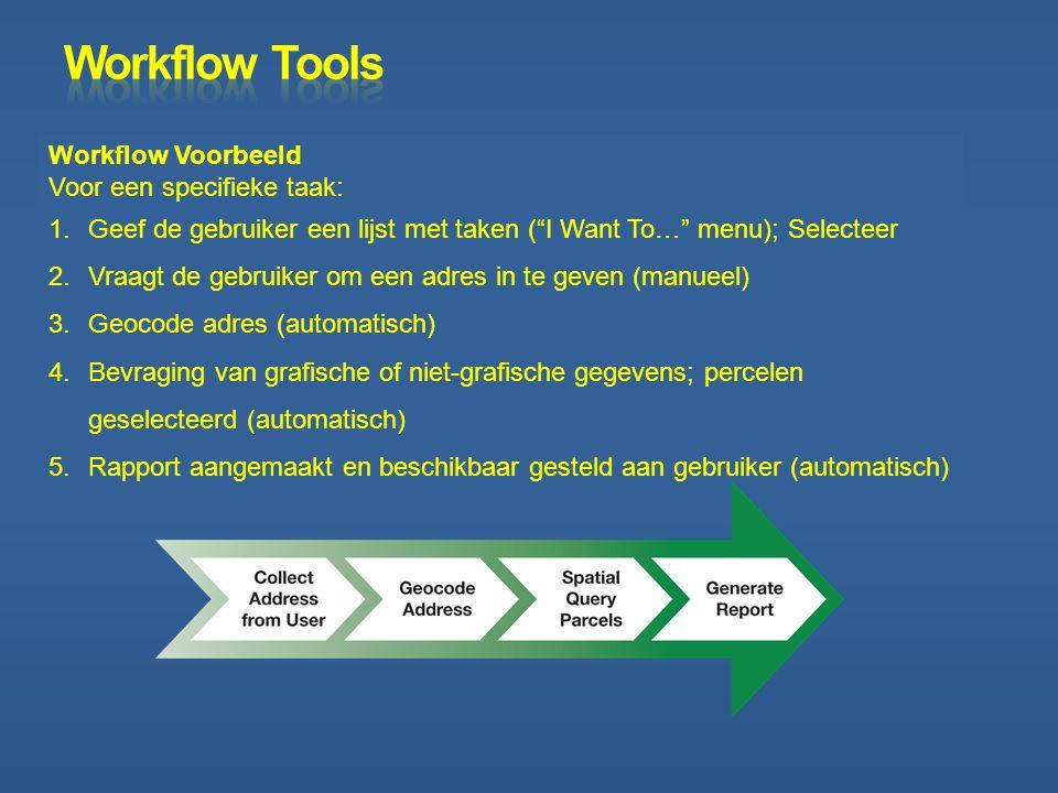 Workflow Tools Workflow Voorbeeld Voor een specifieke taak: