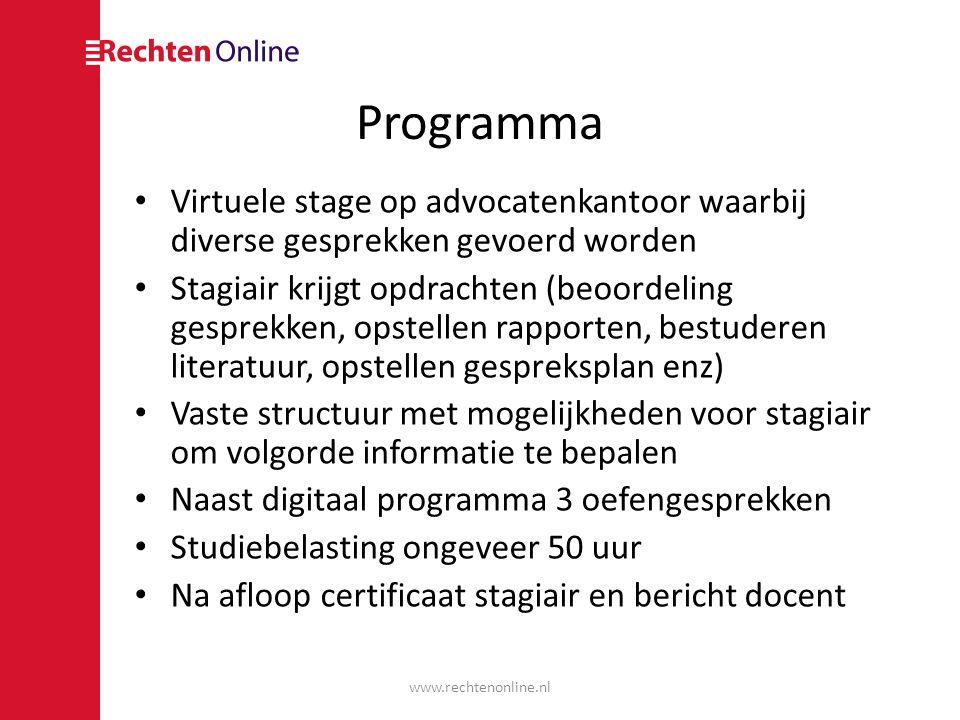 Programma Virtuele stage op advocatenkantoor waarbij diverse gesprekken gevoerd worden.