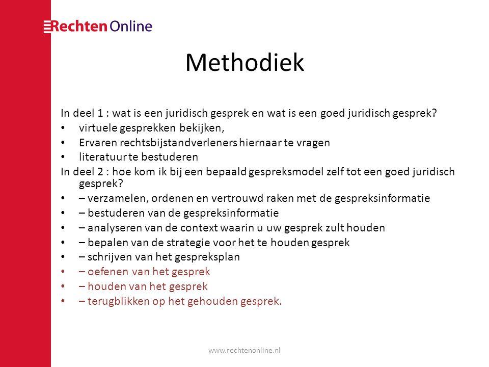 Methodiek In deel 1 : wat is een juridisch gesprek en wat is een goed juridisch gesprek virtuele gesprekken bekijken,