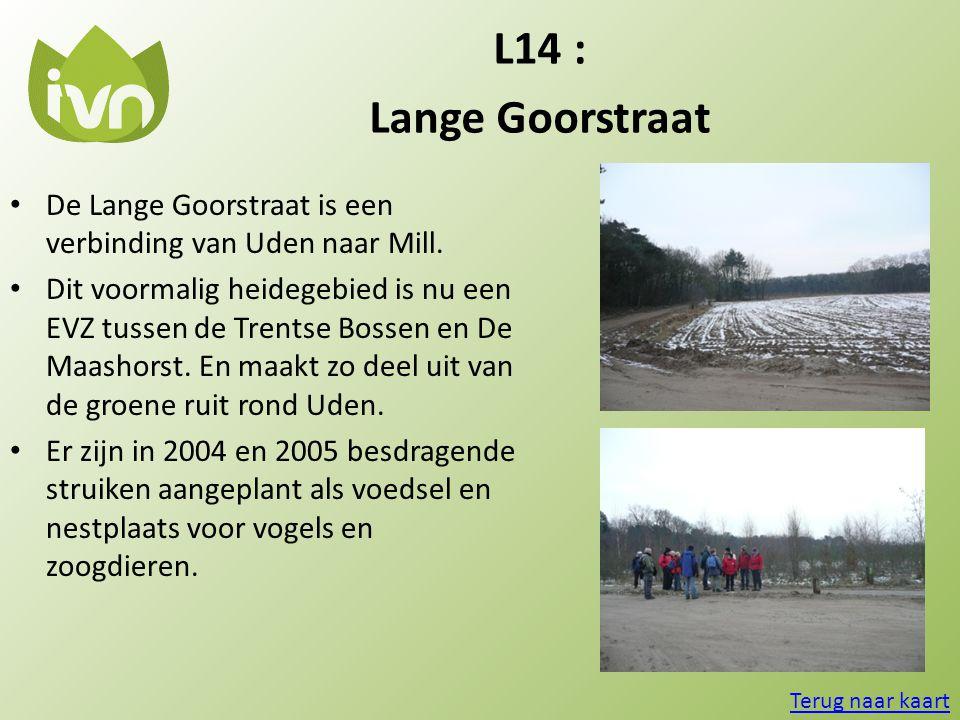 L14 : Lange Goorstraat. De Lange Goorstraat is een verbinding van Uden naar Mill.
