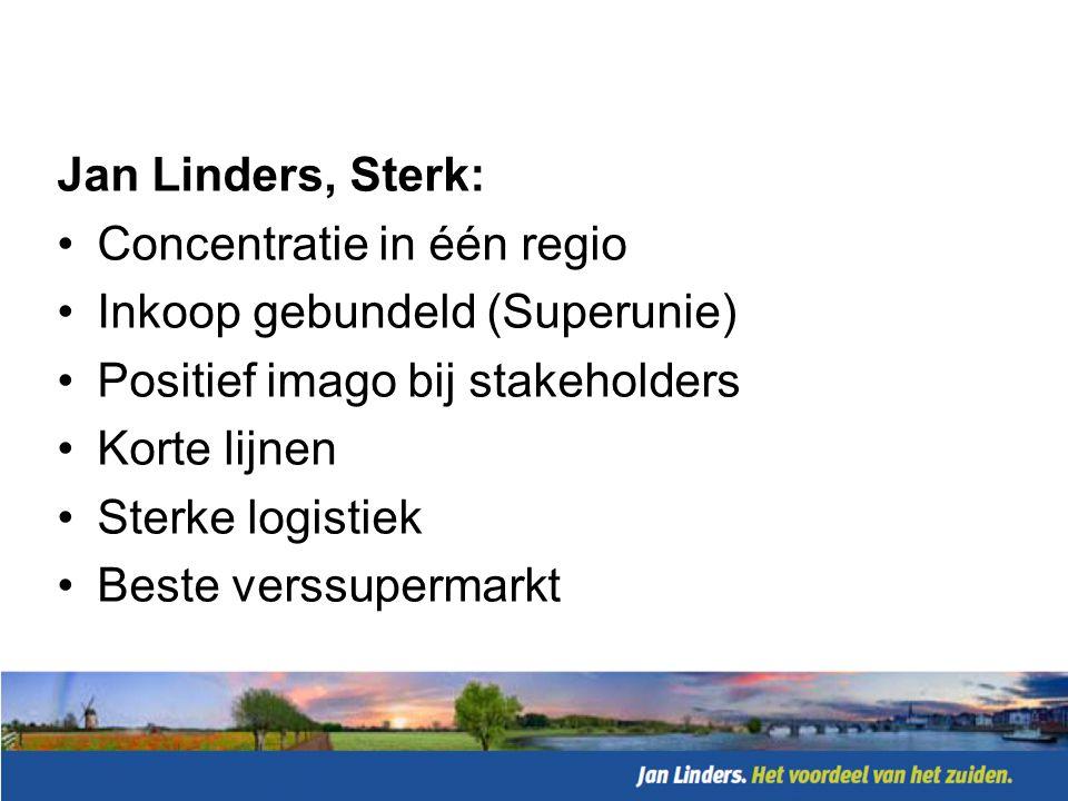 Jan Linders, Sterk: Concentratie in één regio. Inkoop gebundeld (Superunie) Positief imago bij stakeholders.